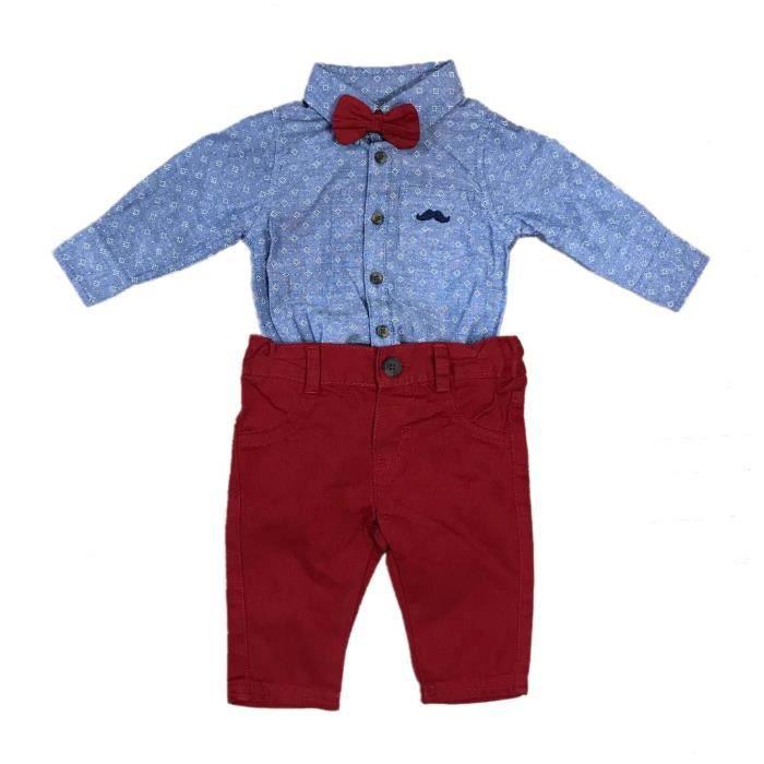 0bfc3677f1115 Ensemble chemise, pantalon et noeud papillon - bébé garçon - bleu ...