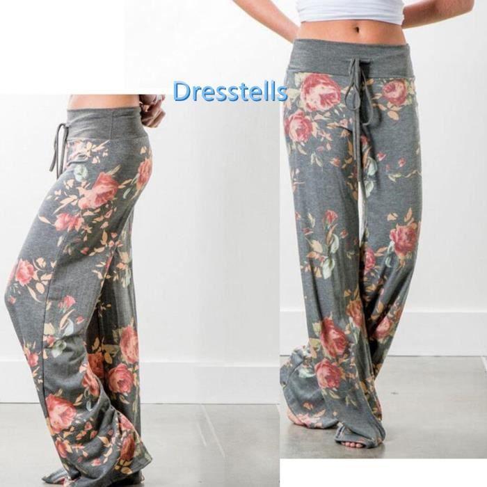 Dresstells pantalon femme grande taille coton pantalon large femme taille  haute élastique pantalon imprimé femme 224d4cccf6d0