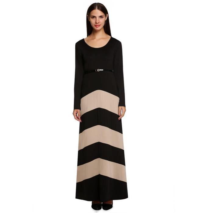 Femmes robe de soirée élégantes manches longues décontracté taille haute bande pleine longueur