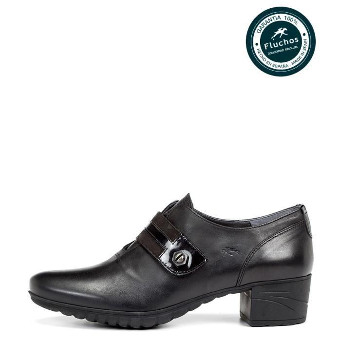 Fluchos - Charis chaussures en cuir noir talon -Hauteur: 4cm
