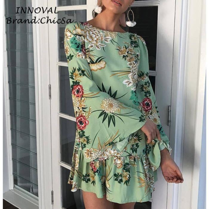 Imprimé Floral Robe Courte Femme Longue Manches Trompette Flounced Conception Sexy Robe de Printemps Vêtements