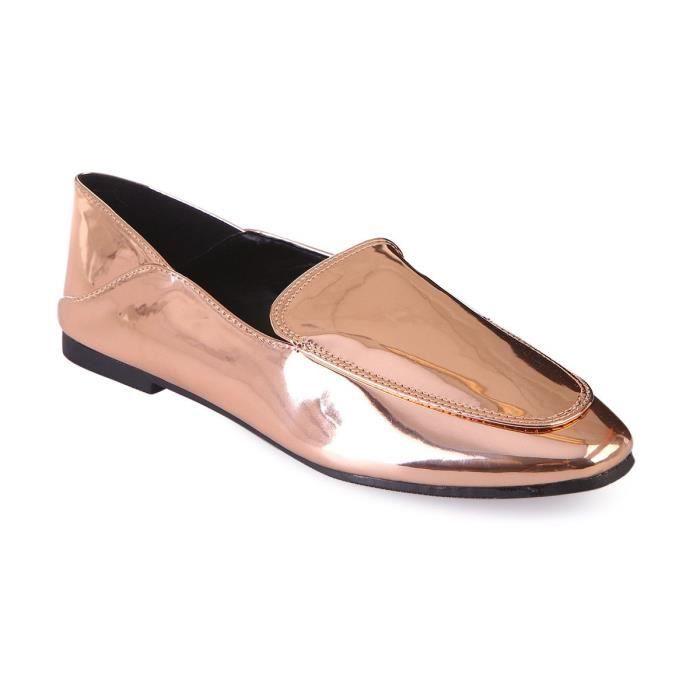 MOCASSIN Slippers vernis doré rose-36