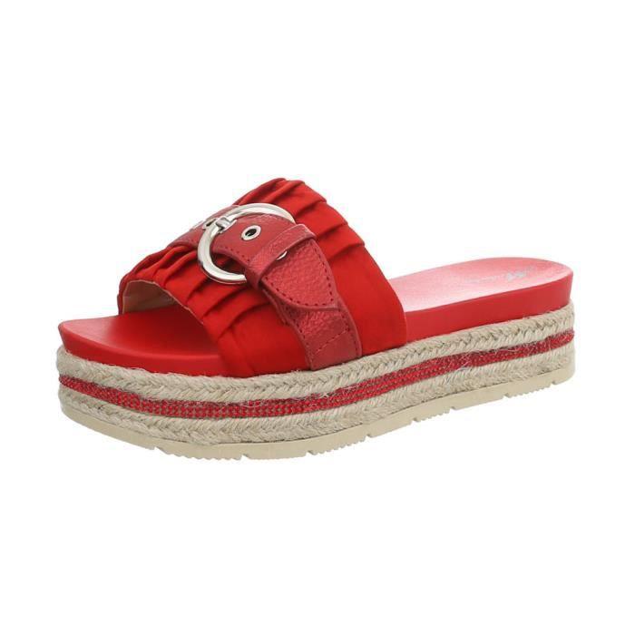 Mulets rouge Plage Clair Designer noir Rose Sandales Soirée Femmes Escarpin vieux De Chaussures Rouge bleu Beige D'été Plateau Hxt0gBqw