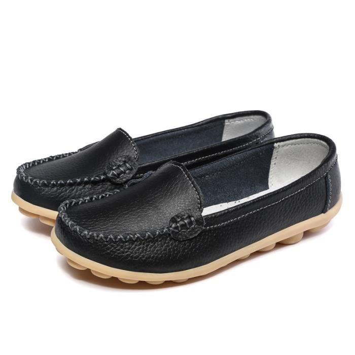 Femmes en cuir véritable Chaussures d'été Flats 5 couleurs Mocassins Femme Classique Marcher Casual Mère Chaussures J8S7ON6