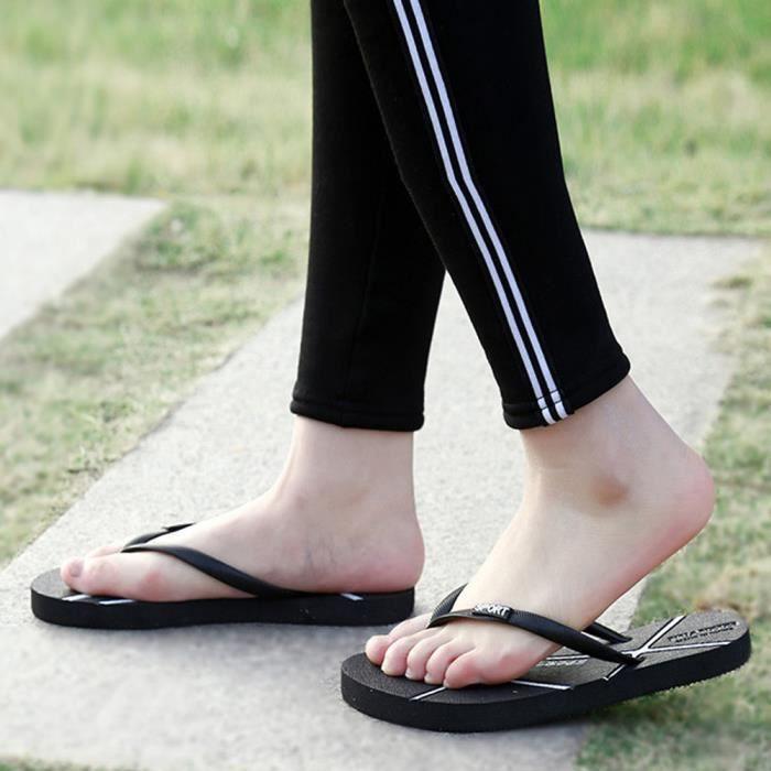 Pantoufles de plage unisexe des hommes d'été des pantoufles de plage sandales de loisirs@Noir 4OpXh