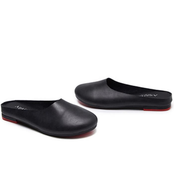 Slip-on Casual en cuir solide Slipper Mule Mocassins Flats Chaussures VVD6X Taille-35 1-2 90UHx