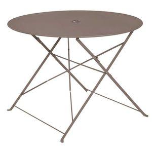 TABLE À MANGER SEULE Table ronde pliante en métal, coloris Crema - Dim