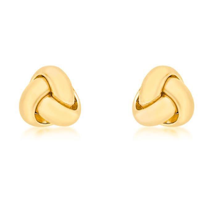 Femmes 18 Ct or jaune Petite Triple Knot Boucles doreilles 1R26ML
