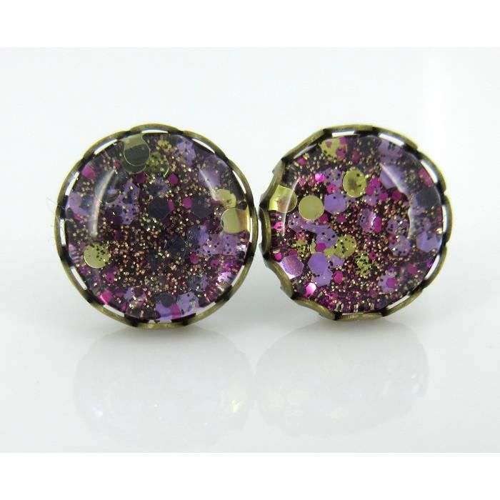Womens Antiqued Gold-tone Purple Glitter Glass Stud Earrings Hand-painted 10mm S9889