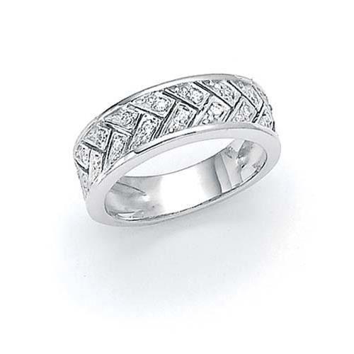 Grain tissé Argent 925/1000–Diamant-Taille 54 - 1/2