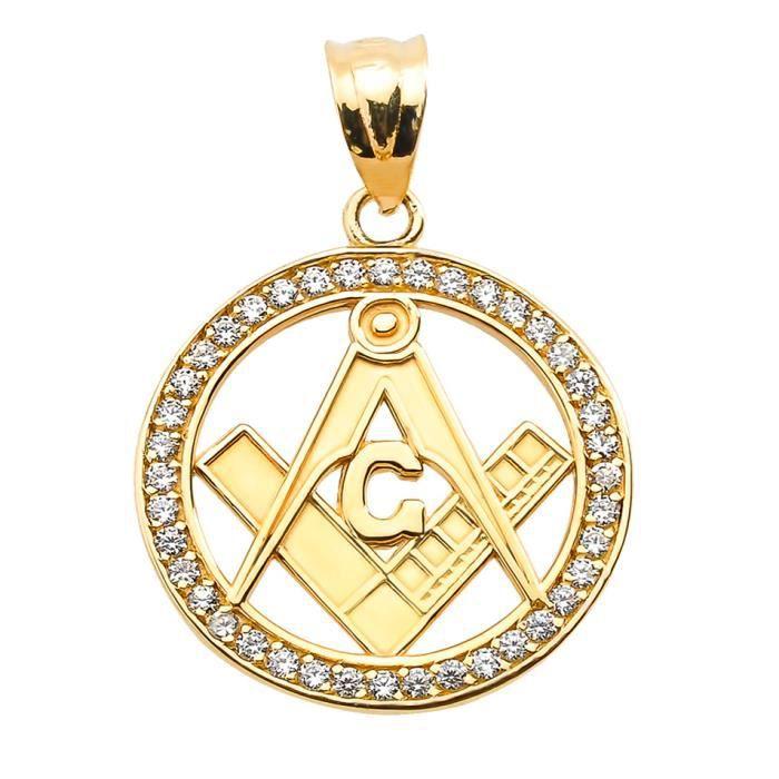 Pendentif 14 ct Or Jaune 585/1000 Diamants Franc Maçon