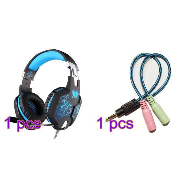 Kotion Each G1100 Gaming Casques Avec Microphone Surround Stéréo Led Pour Ps4 Pc Gamer Audio Adaptateur Câble(cadeau)