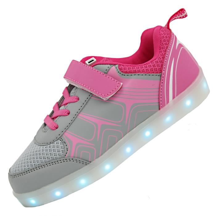 Bevoker Enfant Chaussure Basket Lumineuse pour Garcon Fille -7 couleurs Led lumière -USB Rechargeable