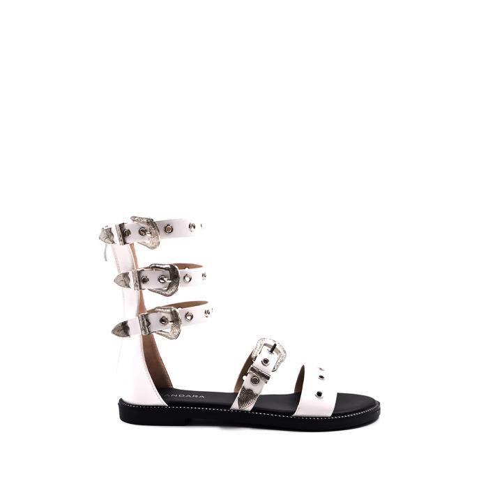 CHIC NANA . Sandales plate spartiate montante bandoulière western en couleur Blanc 40.