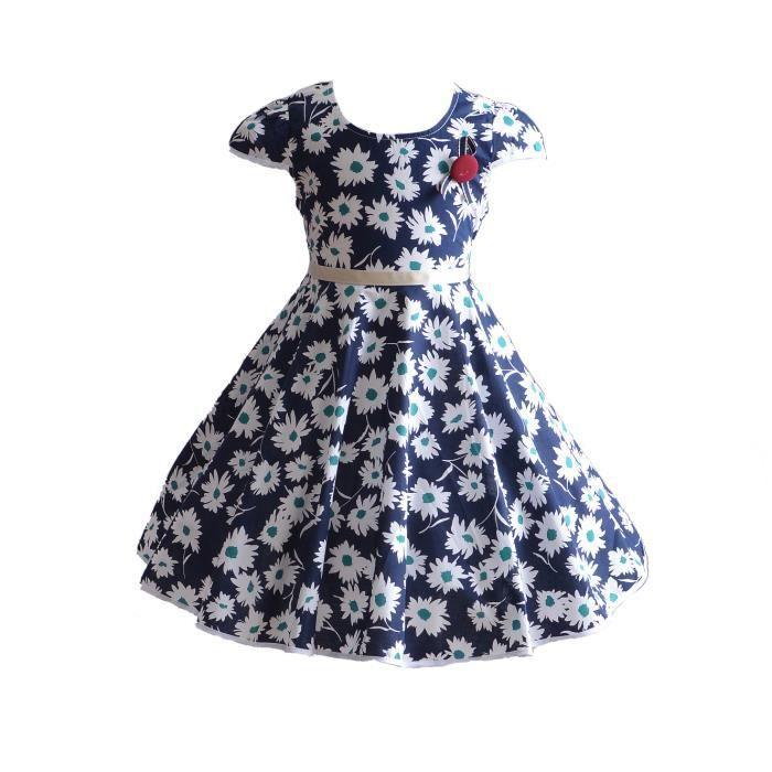 3106185cbc3 Cinda Filles marguerite fleur été robe de soirée en coton 4-5 ans Bleu