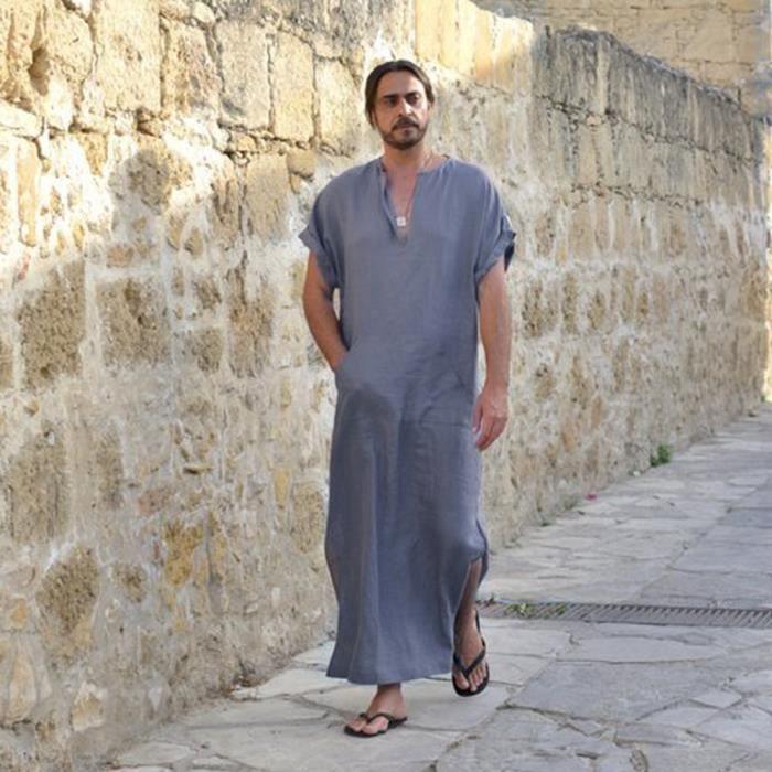 Vrac Kaftan En Rayé Vintage Manches Mince Ethnique Gris Dedasing® Courtes À Mens Robe B4PaI