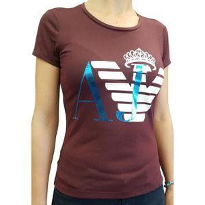 ... T-SHIRT T-Shirt Armani Jeans manches courtes bordeaux pour ... b1f8e01b2fa6