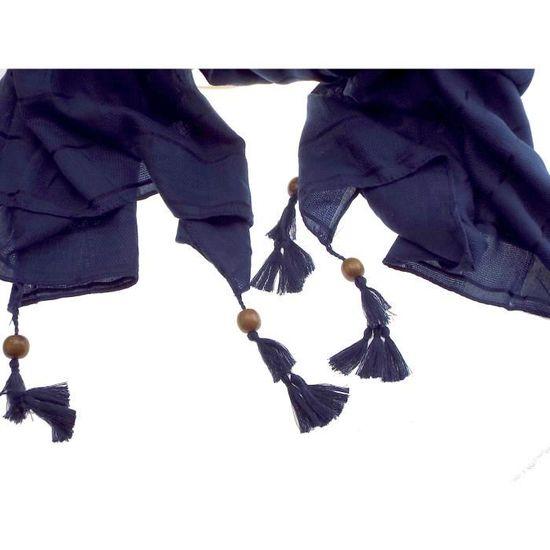 8036d8a5b2e7 1 foulard marine - fantaisie perle de bois sur chaque extrémité femme,  adolescente, Bleu - Achat   Vente echarpe - foulard 2009581587946 -  Cdiscount