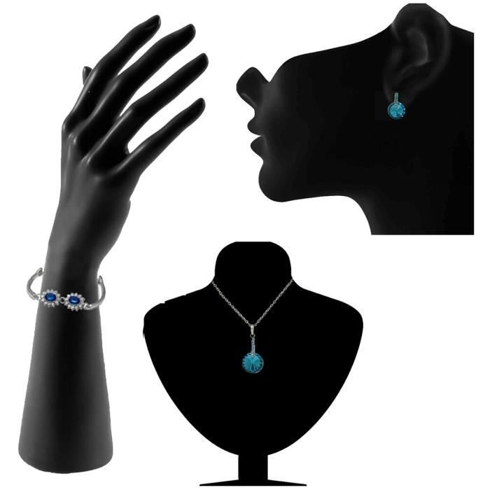 Womens Rhodium Plated Glorious Blue Pendant Set And Bracelet Combo With Crystal Stones Co1104655r TILSY