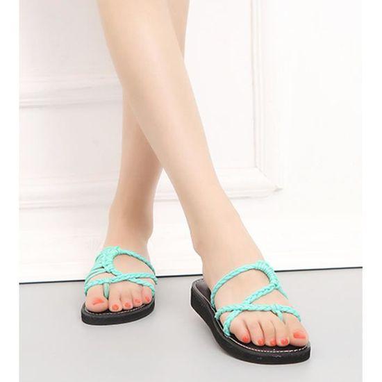 Femmes Sandales Mode Été Tressées Tongs Mules Chaussures Flops Plats Talons Plage Flip Sangles De vmOnw0yPN8