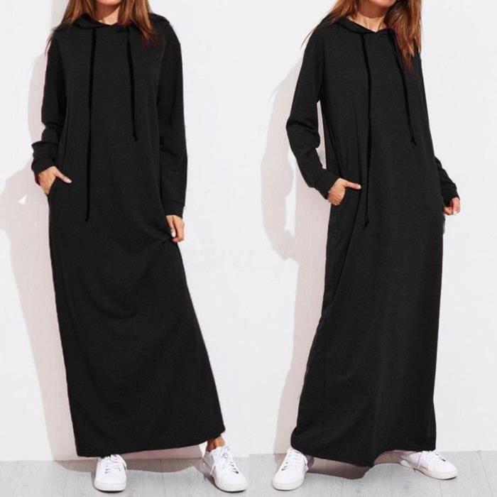 Noir À Femmes Casual Maxi Robes Robe Manches Capuche Sweats Longues Pour PPIvHxO