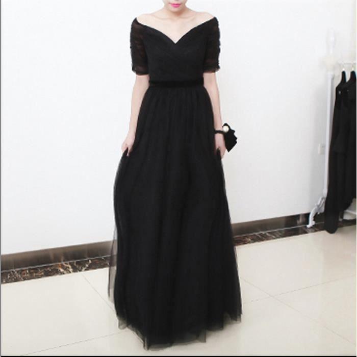 Deep V-neck noir A-line longues robe de soirée sur lépaule fermeture à glissière 3-4 manches longues plis Robe de soirée courbée