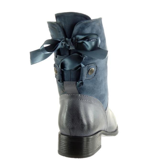 Angkorly - Chaussure Mode Bottine cavalier souple bi-matière femme Lacet ruban satin clouté Talon haut bloc 3.5 CM - Intérieur NRaTlklq