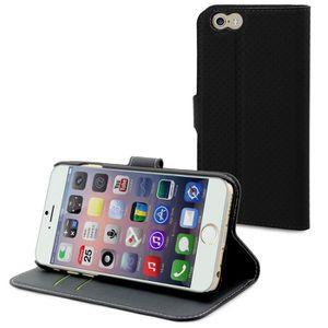 MUVIT Wallet Folio Etui - 3 Range cartes - Noir - Pour Apple Iphone 6, 6s +