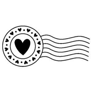TAMPON DÉCORATIF Artemio - Tampon bois - Cachet postal cœurs