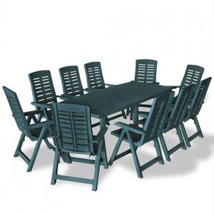 Salon de jardin table et chaises plastique 10 personnes