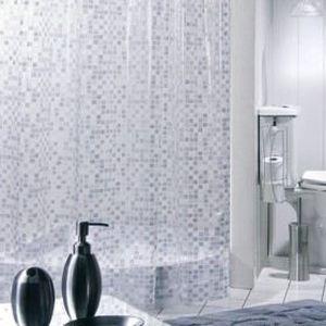 Rideau De Douche Pvc Mosaique Argent 180x200 Achat Vente