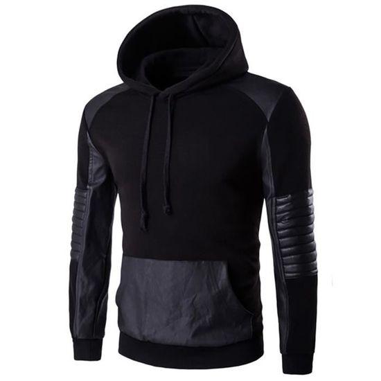 Automne Sweat Faux Longue Manche Hit Casual Homme Poche Pullover Encapuchonné amp;hiver; Manteau Cuir Couleur shirt 4IwYAwxFq