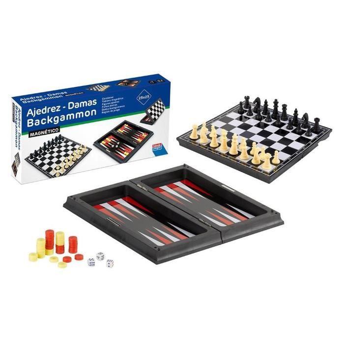 MALLETTE MULTI-JEUX Jeux d´échecs + Dames + backgamon magnétique 23 cm