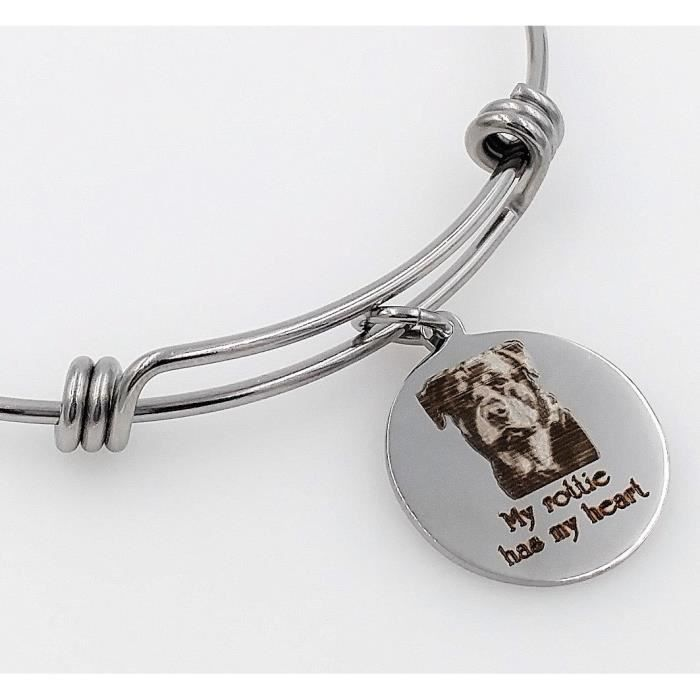 Womens My Rottie, Rottweiler Has My Heart Engraved Expandable Bangle Bracelet HVESY