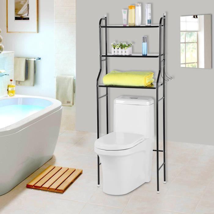 Etag re de wc meuble dessus wc rangement stockage noir achat vente colonne armoire wc for Taille fenetre wc