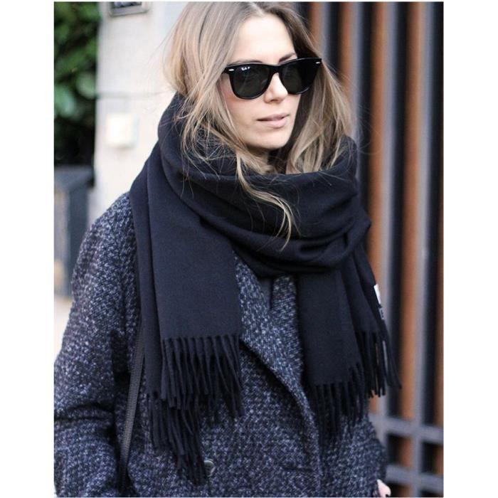 Écharpe femme noir foulard avec franges douce et chaud hiver longueur largeur210 70CM  en simili cachemire 1cf62d8f3e5