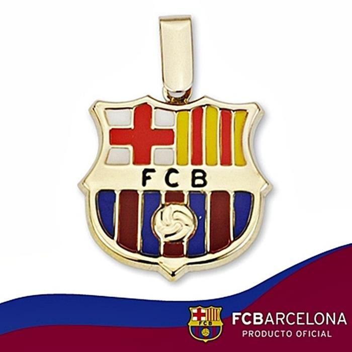 Pendentif écusson F.C. Barcelona or massif 9k 20mm. émail