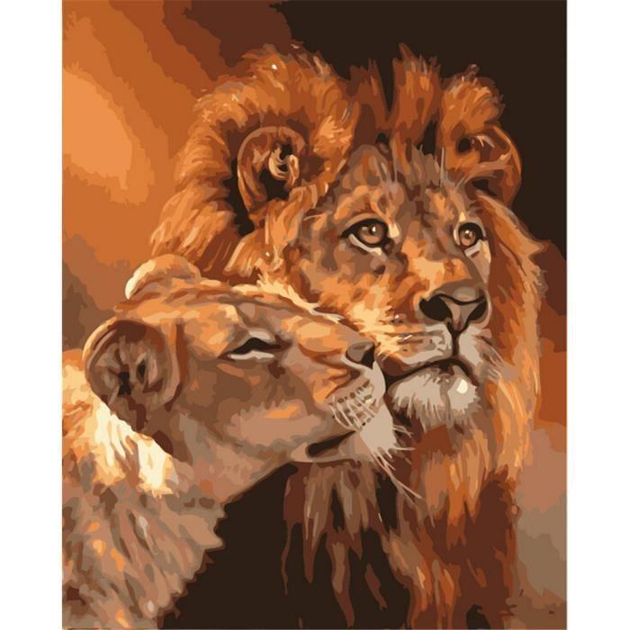peinture l 39 huile moderne num rique sur toile pour le roi lion encadr e de peinture by numbers. Black Bedroom Furniture Sets. Home Design Ideas