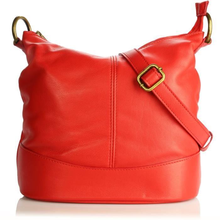 Olivia - Sac à main femme en cuir porté main / bandoulière Modèle NINA Collection printemps/été - Petit- (Rouge - Cuir)