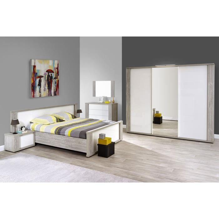 Ensemble chambre à coucher contemporaine coloris valonia et blanc ...
