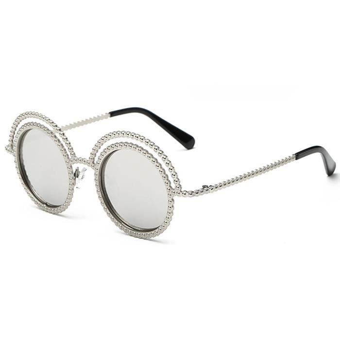 Femmes Lady Double Frame couche ronde lentille extérieure Beach Sunglasses Lunettes