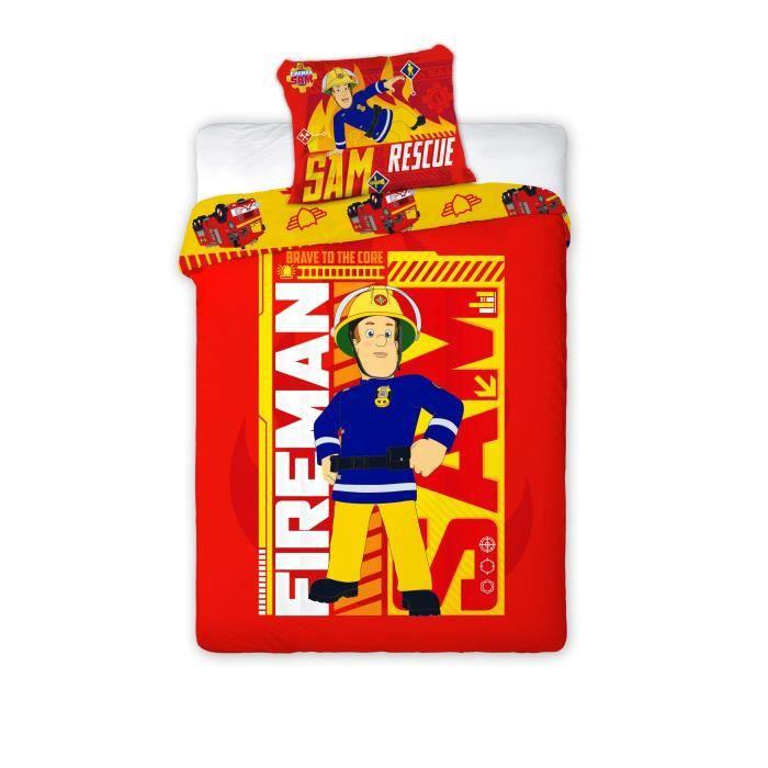 sam pompier parure de lit réversible 100% coton pour 1 personne