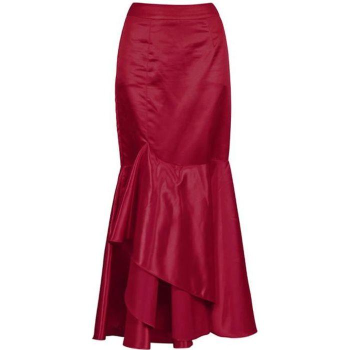 c18782571a8142 Longue jupe sirène en satin rouge vin élégante gothique fashion, tenue de  soirée, cocktail