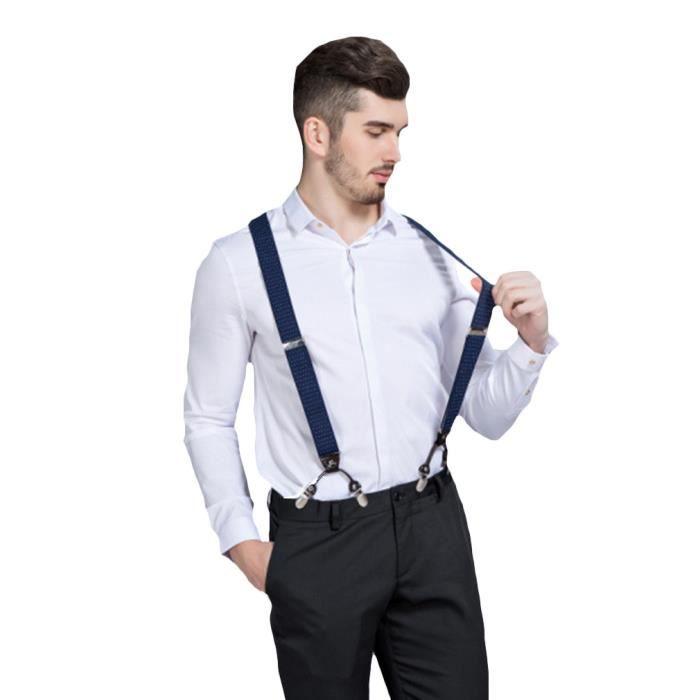 eeaf1309ed1e0 EOZY Bretelles Homme Avec 6 Clips Bretelle De Pantalon Élastique Y-Forme  Ajustable