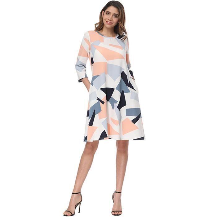 Deessesale®Femmes trois quarts manches bouton géométrique robe avec taille de cordon Blanc FJL71227135WH