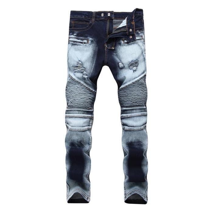 8e32238bf7602 Jean Homme Déchiré Slim Fit Stretch Effet Délavé Froissé Jeans ...