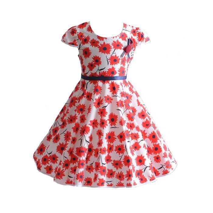 3f0b0ff3964 Cinda Filles marguerite fleur été robe de soirée en coton 4-5 ans Rouge