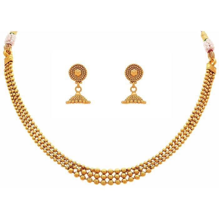 femmes plaqué or Bijoux oreille Bagues Collier Set - Ensemble de bijoux avec boucles doreilles pourBLBF0