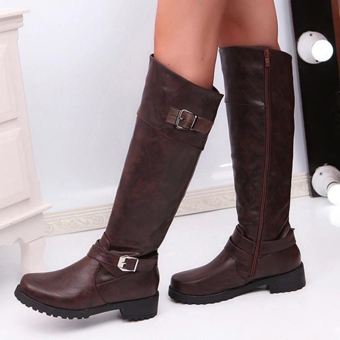 Bottes Chevalier Mat Mi Boucle Rond mollet Cuir Boot Bout Femmes En Carre bottes 603 Chaussures wI08qvE