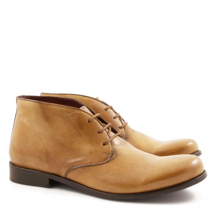 LEONARDO SHOES HOMME 84027PAPUATMORO BEIGE CUIR CHAUSSURES À LACETS Yw34BY7o